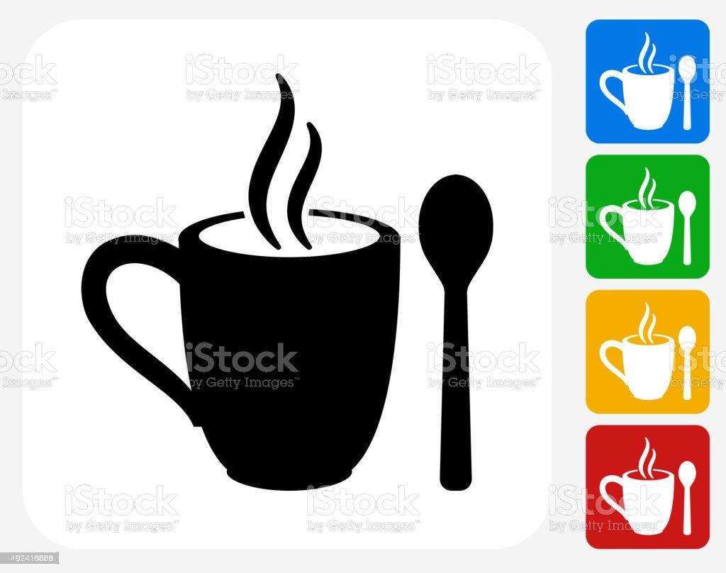 Mug and Spoon Icon Flat Graphic Design vector art illustration