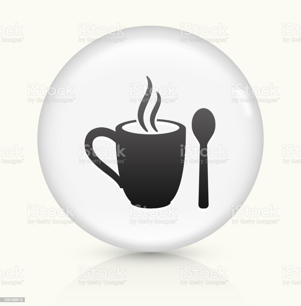 Mug and Spoon icon on white round vector button vector art illustration