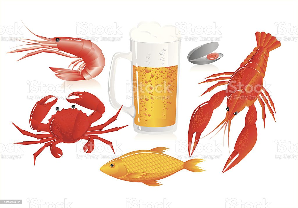 Mug of beer and seafood royalty-free stock vector art