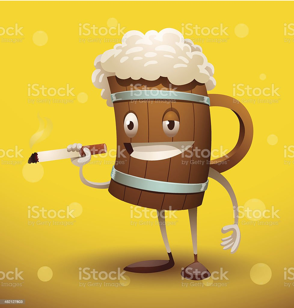 Mug of beer with a cigarette royalty-free stock vector art