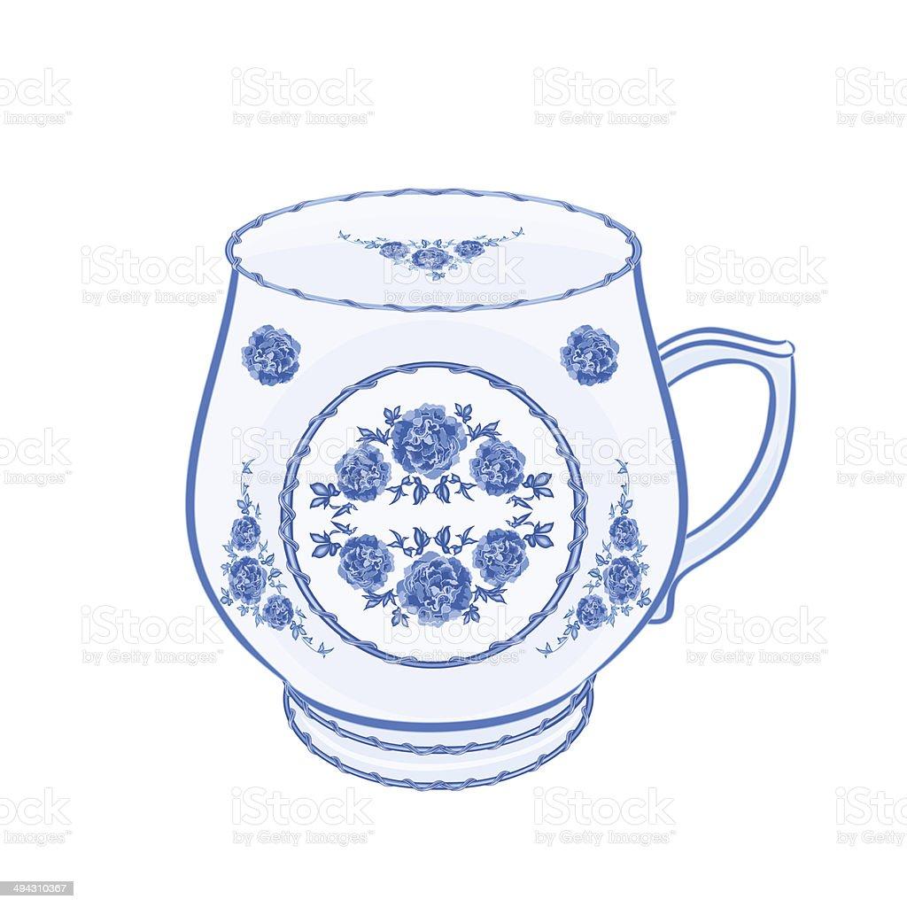 Mug of faience part of porcelain royalty-free stock vector art
