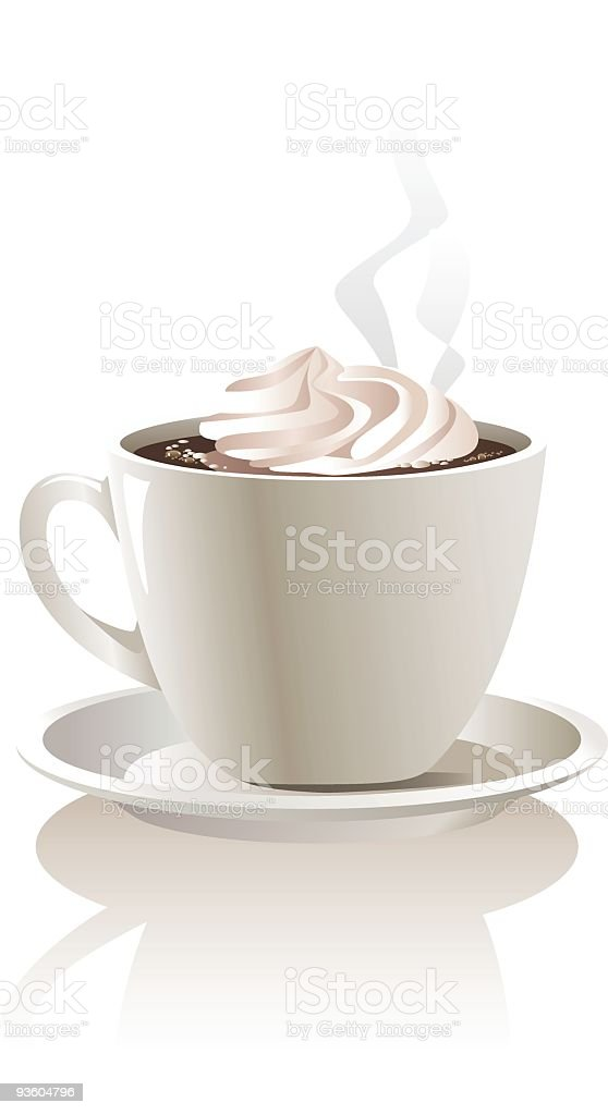 A mug of hot chocolate with a dollop of whip cream royalty-free stock vector art