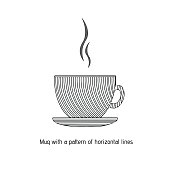 Mug with a pattern of horizontal lines. Vector flat style