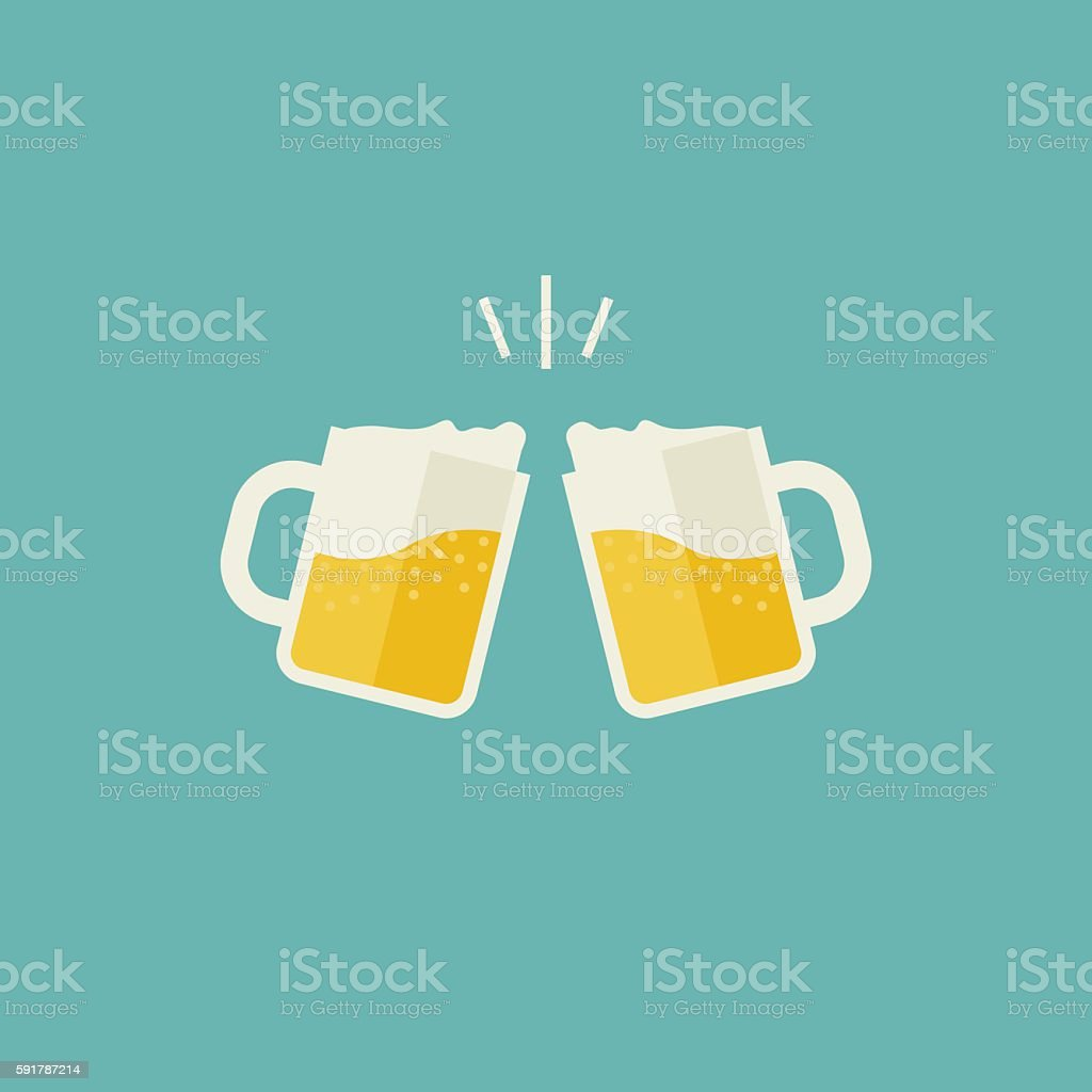 Mugs with beer vector art illustration