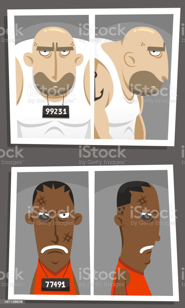 Mugshot at police station vector art illustration