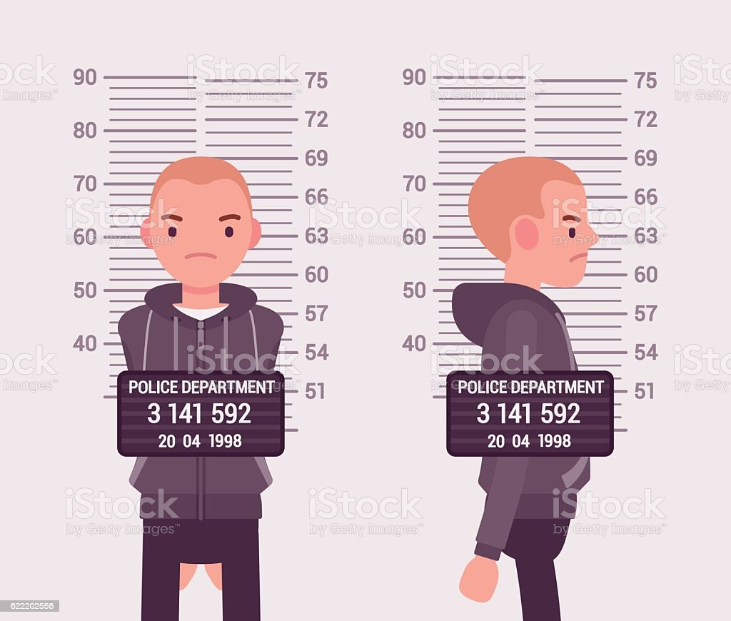 Mugshot of a young white man vector art illustration