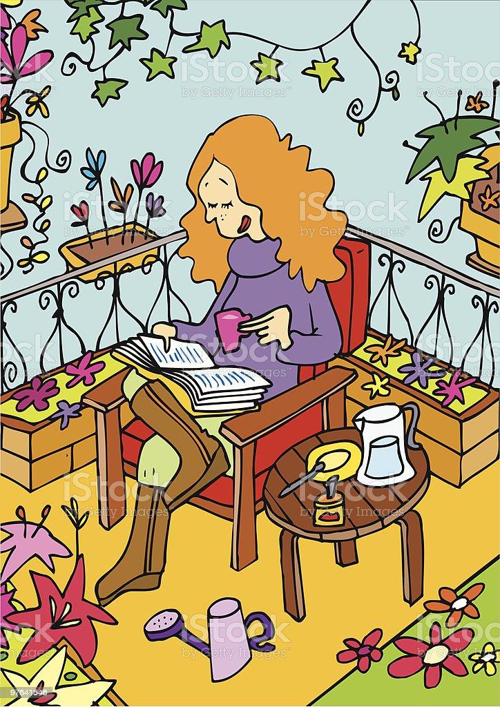 Mujer leyendo y tomando un cafe en su balcon royalty-free stock vector art