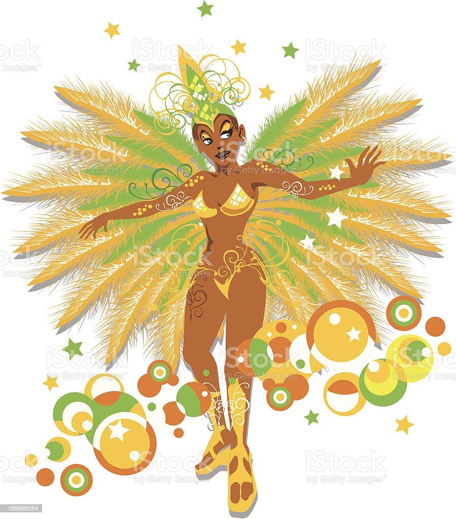 mulata brazilian samba dancer vector art illustration