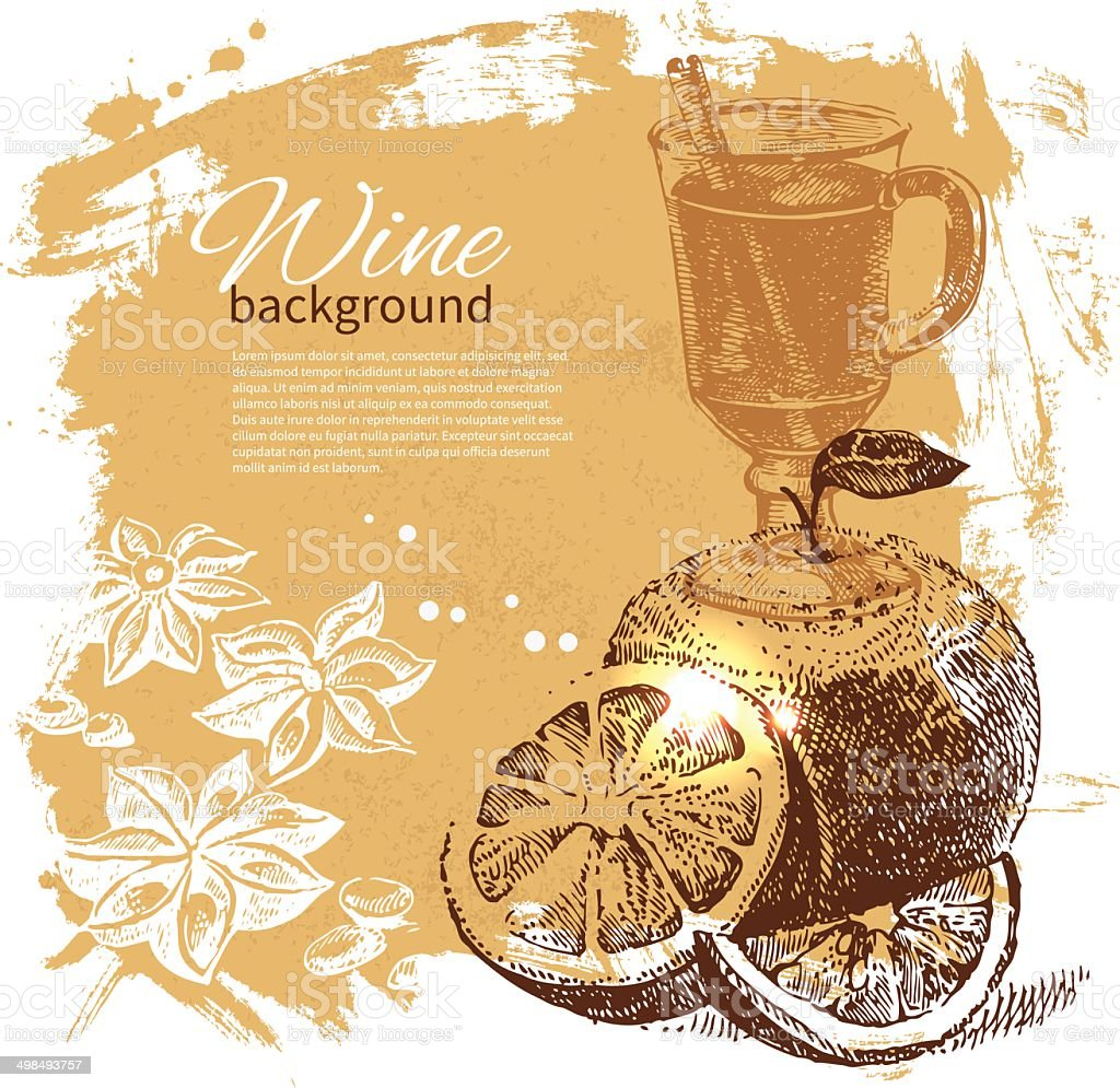 Mulled vintage background vector art illustration