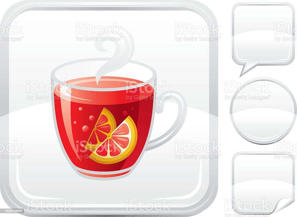 Mulled wine icon on silver button royalty-free stock vector art