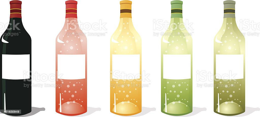 Multi Color Wine Bottles Pack vector art illustration