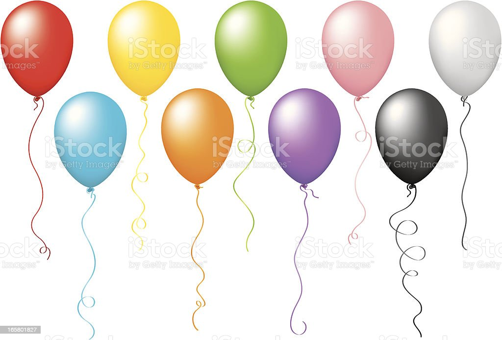 Multi Colored Balloons royalty-free stock vector art