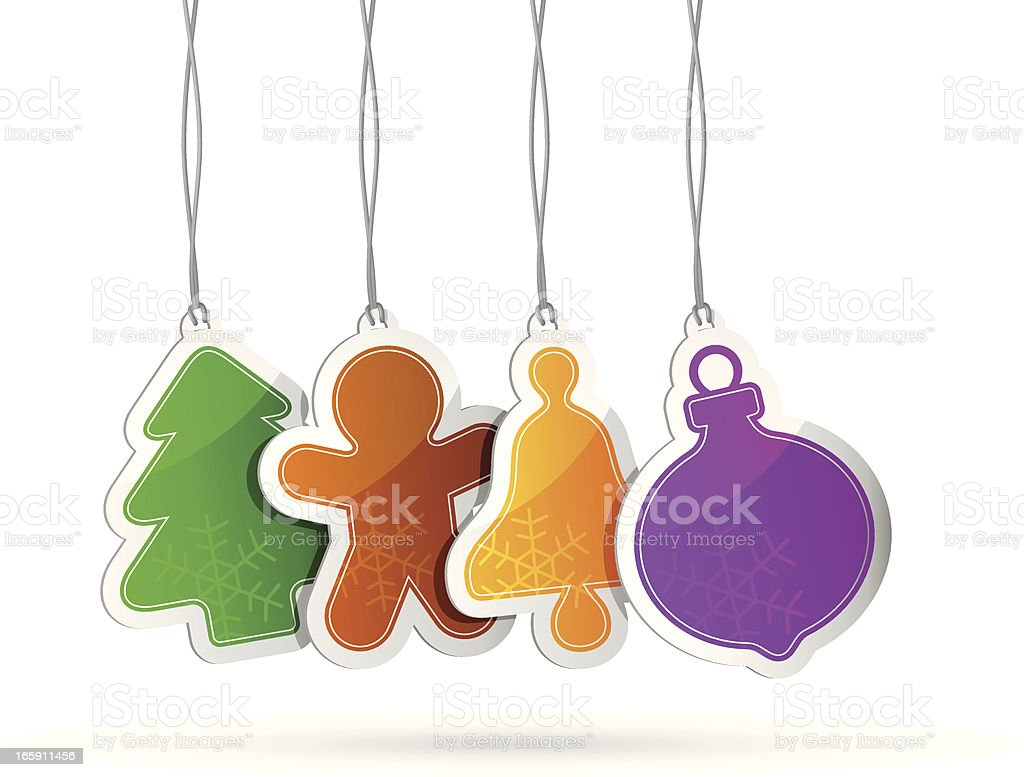 Multi Colored Christmas Tags royalty-free stock vector art