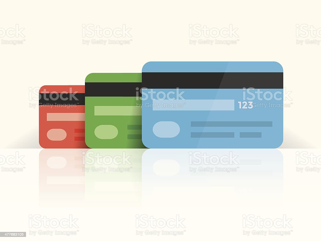 Multi colored credit cards with reflection royalty-free stock vector art