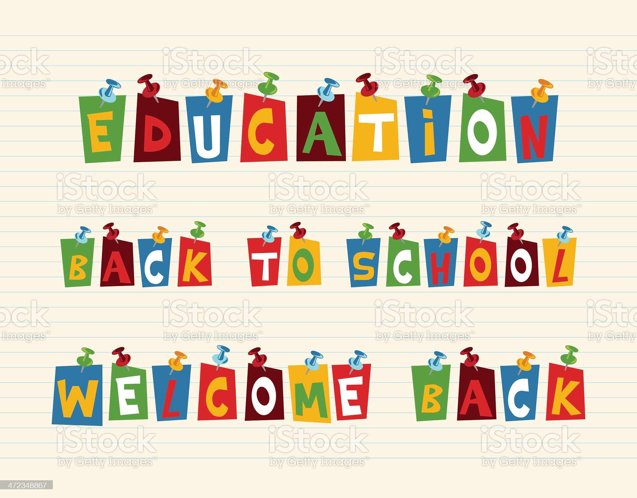 Multi colored education texts royalty-free stock vector art