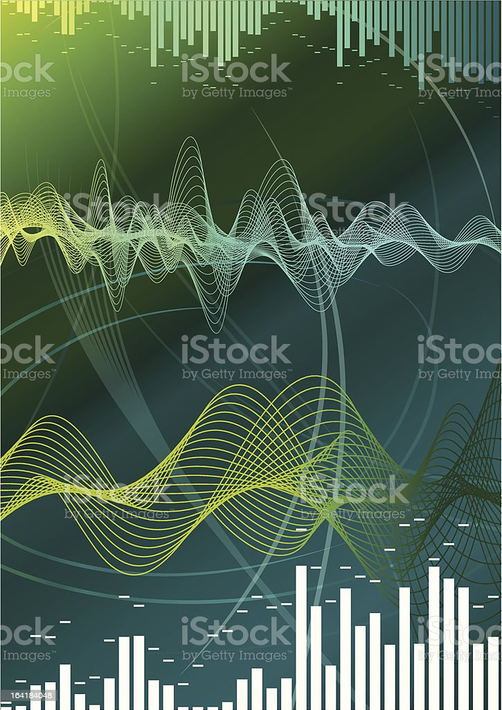 A multi colored green and yellow graphic showing sound waves vector art illustration
