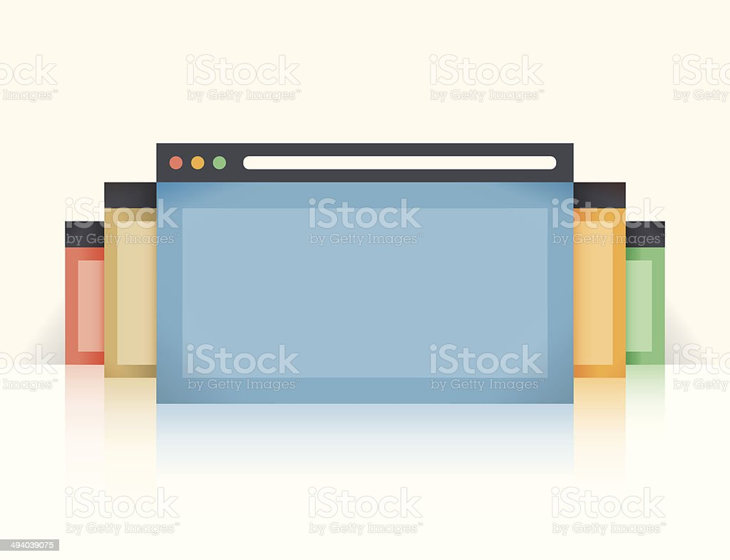 Multi colored internet browser windows with reflection vector art illustration