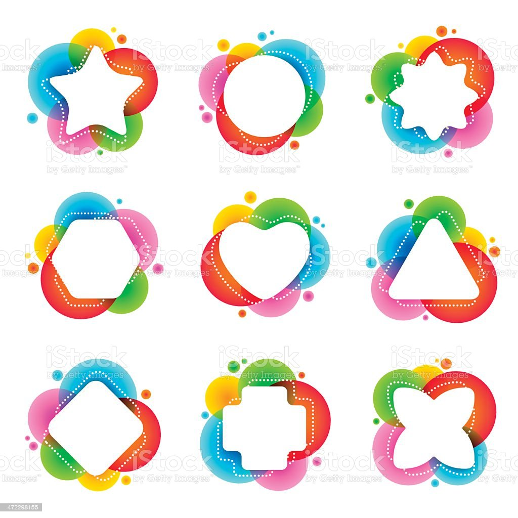 Multi colored negative shapes royalty-free stock vector art