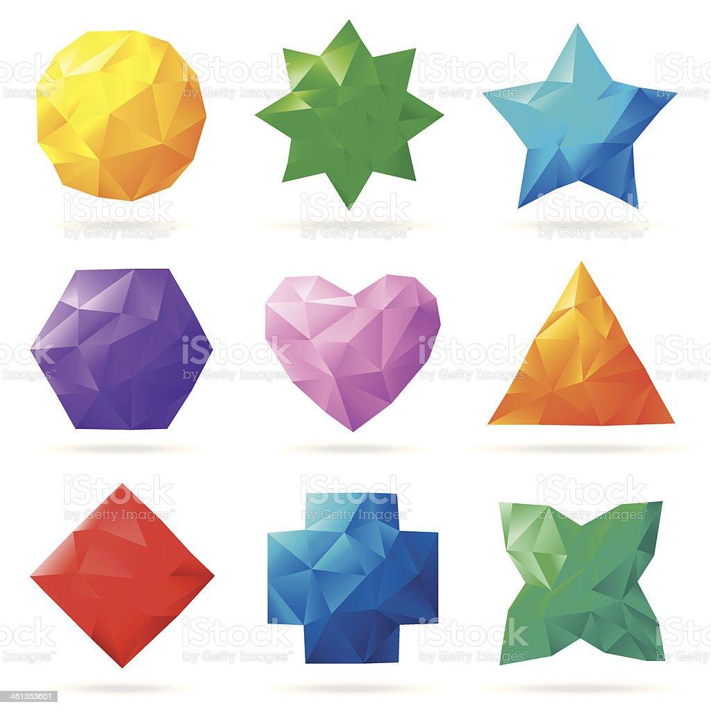 Multi colored polygonal shapes vector art illustration