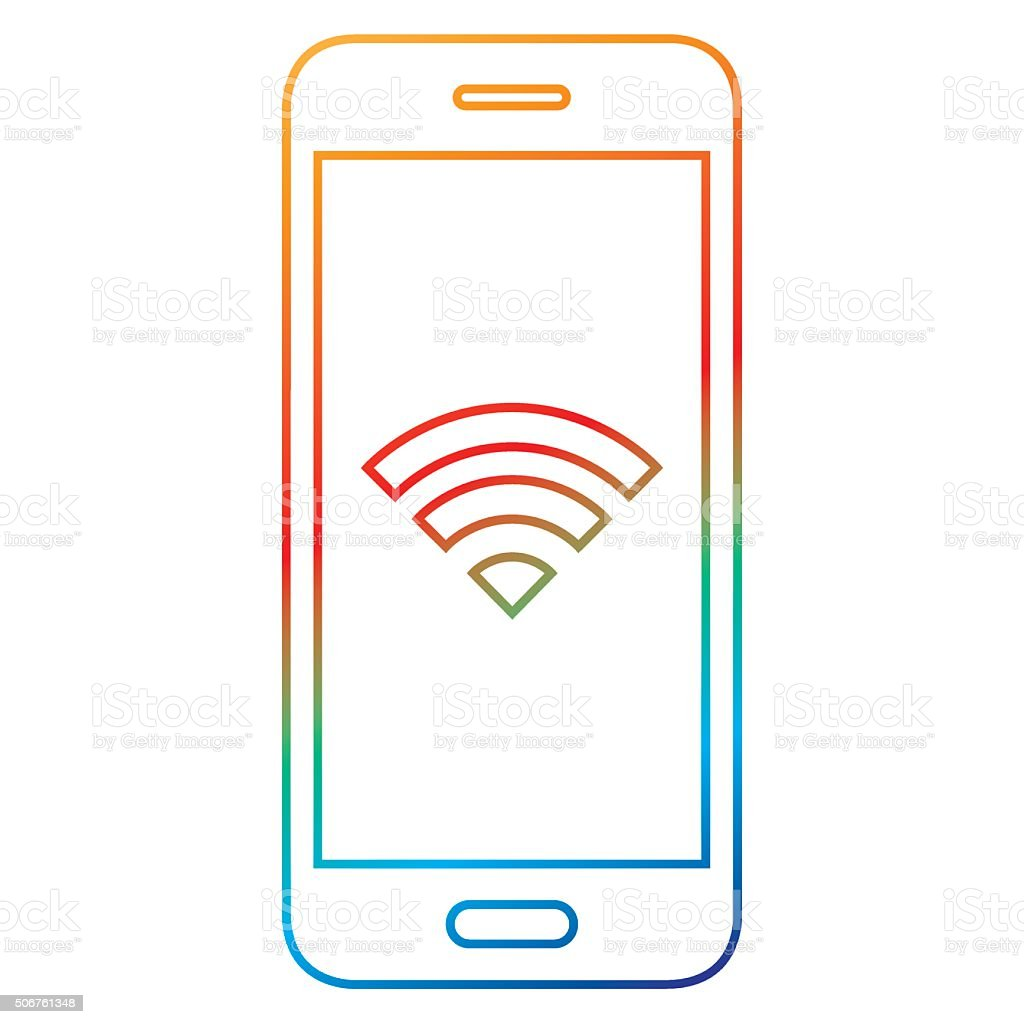 Multi colored smartphone icon vector art illustration