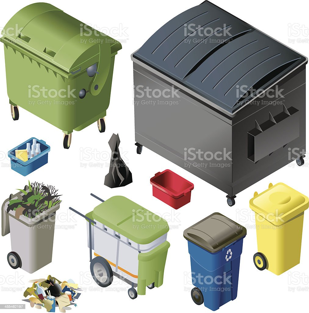 Multi colored waste containers royalty-free stock vector art
