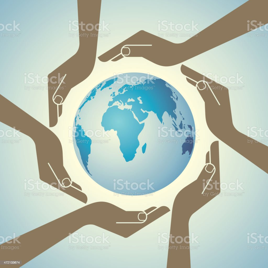 Multi cultural world vector art illustration