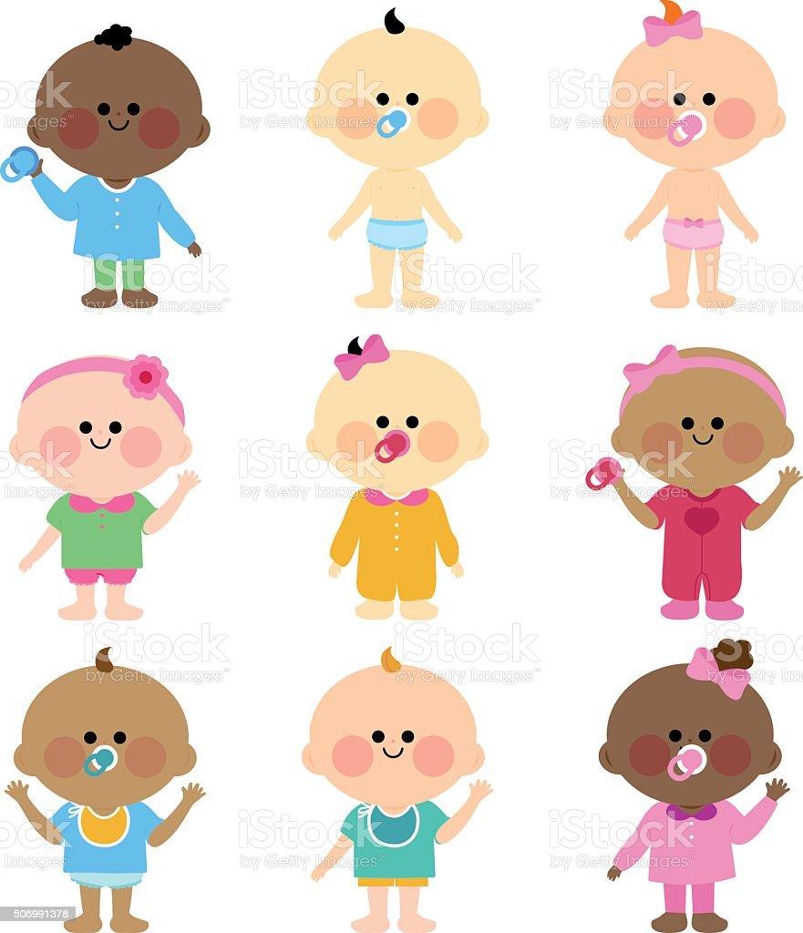 Multi ethnic group of babies vector art illustration