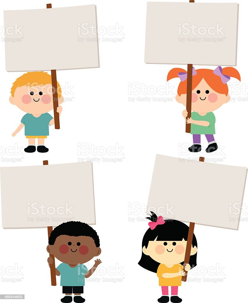 Multi ethnic group of kids holding blank signs vector art illustration
