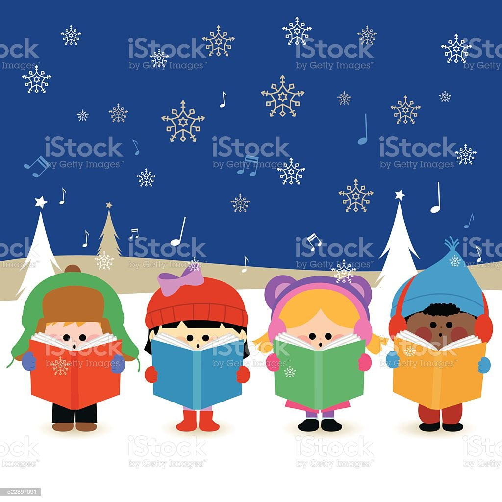 Multi ethnic group of kids singing Christmas carols vector art illustration