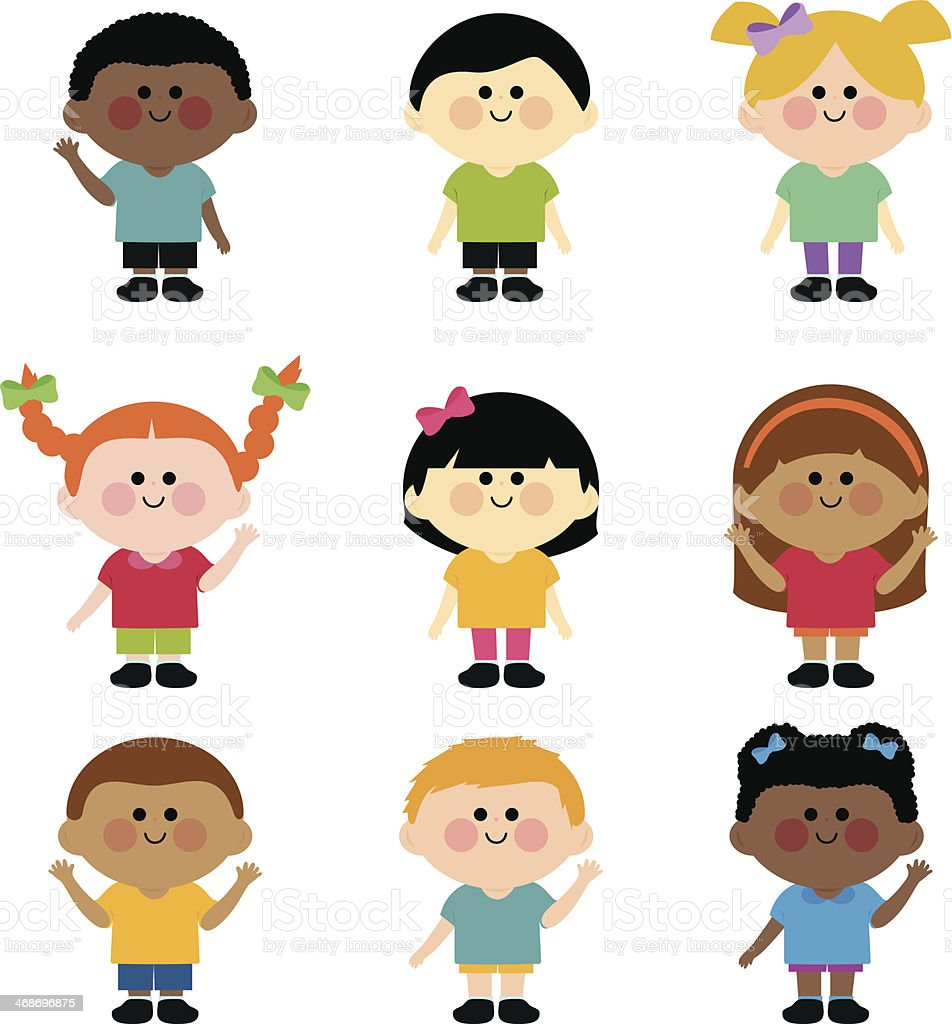 Multi ethnic group of kids vector art illustration