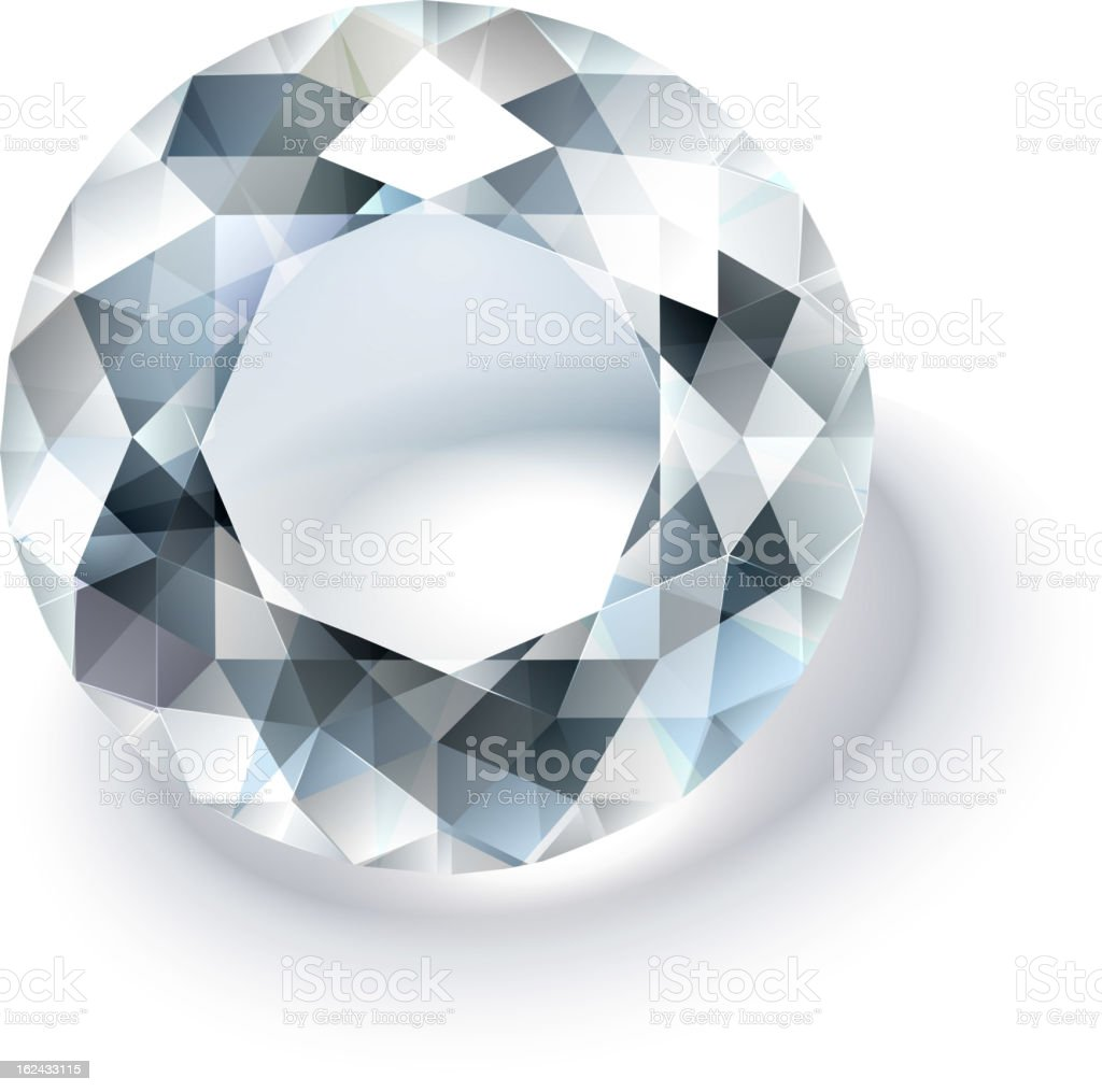 Multi faceted round cut white diamond on a white background royalty-free stock vector art