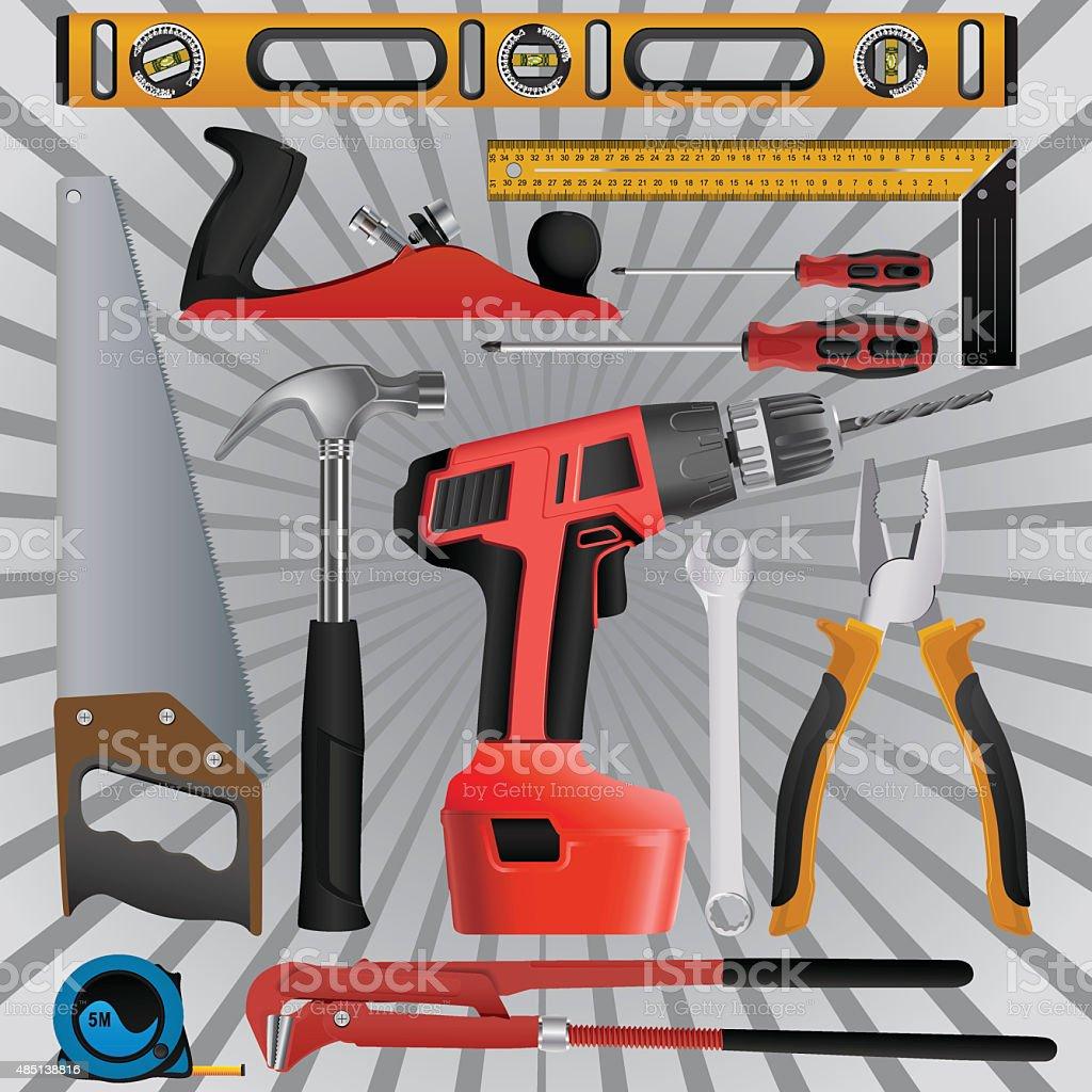 Multi instruction tools vector art illustration