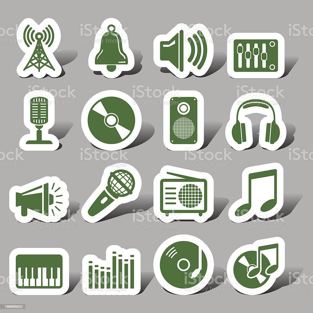 Multi media interface icon vector art illustration