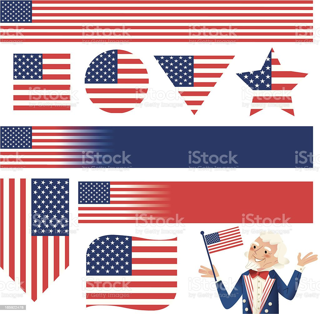 Multi shaped Stars and Stripes royalty-free stock vector art