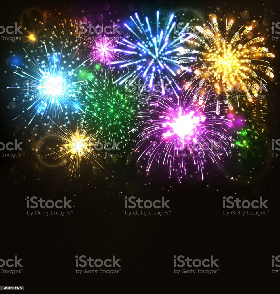 Multicolor Festive Firework Salute Burst on Black vector art illustration