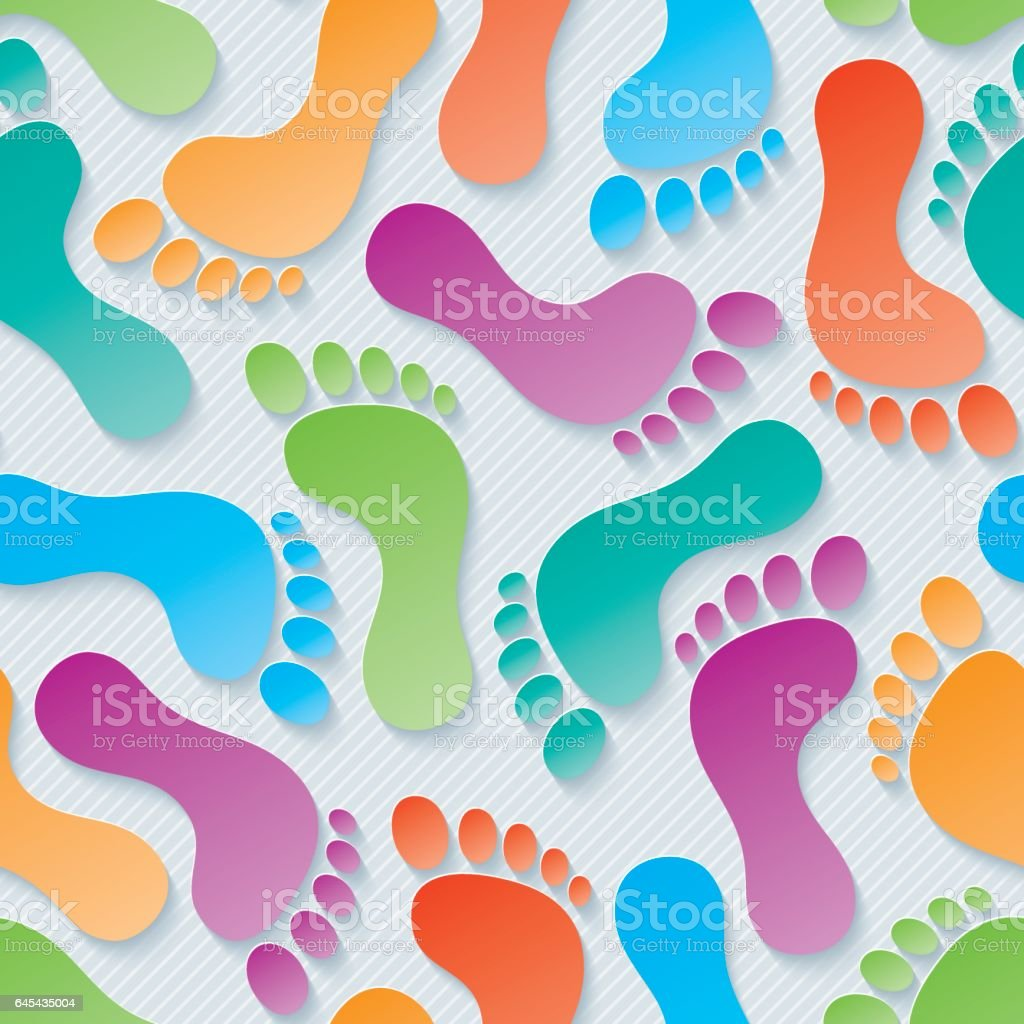 Multicolor Footprints Seamless Wallpaper Pattern. vector art illustration