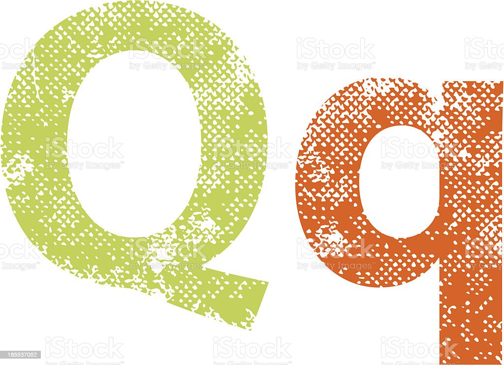 Multicolor grunge letters Q. royalty-free stock vector art