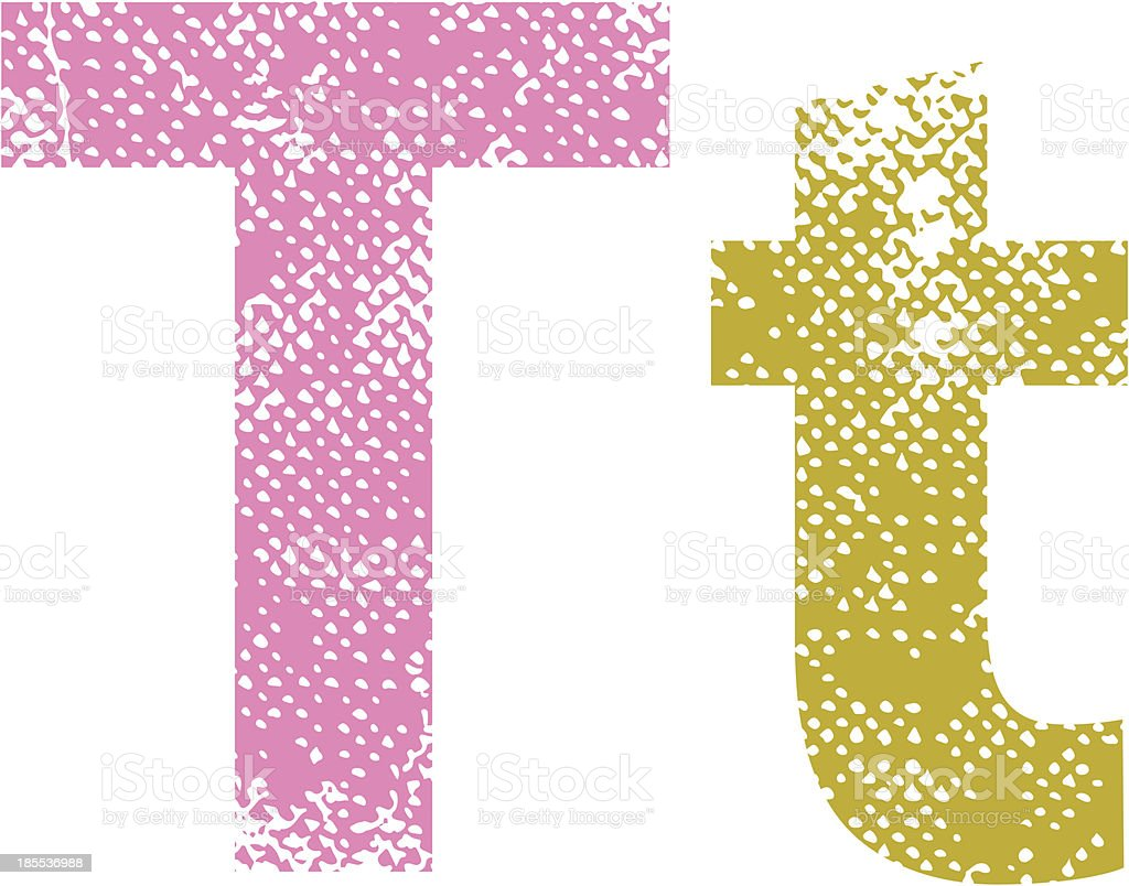 Multicolor grunge letters T. royalty-free stock vector art
