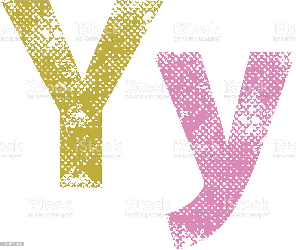 Multicolor grunge letters Y. royalty-free stock vector art