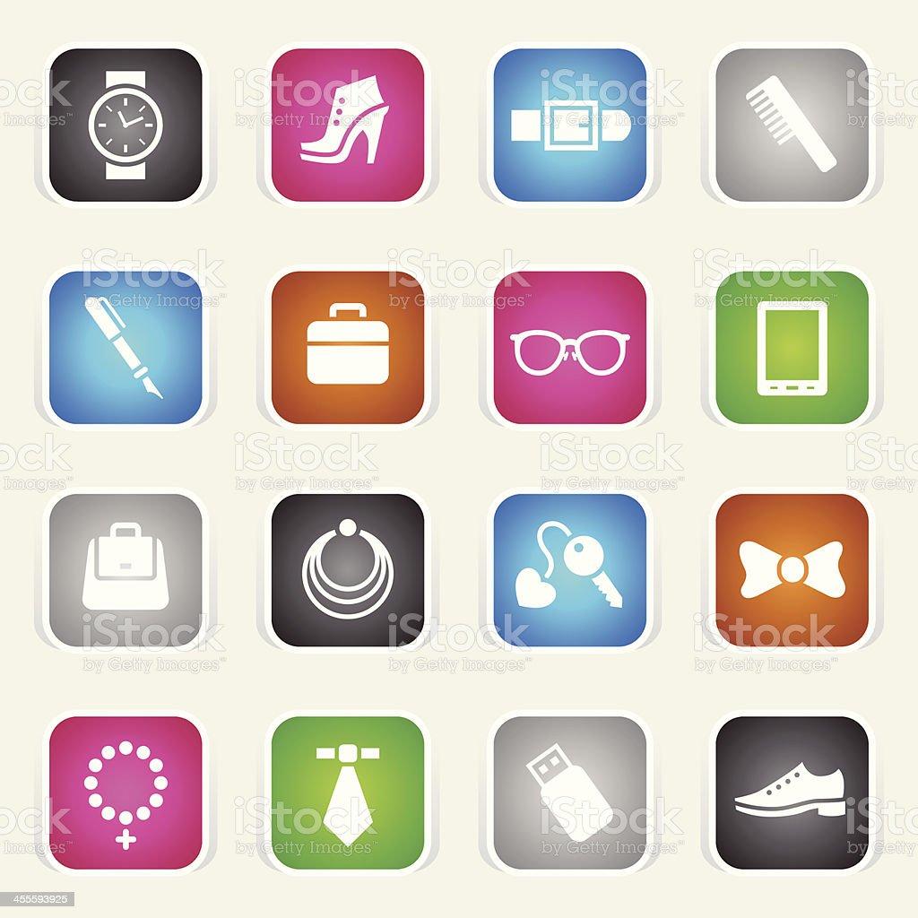 Multicolor Icons - Accessories vector art illustration