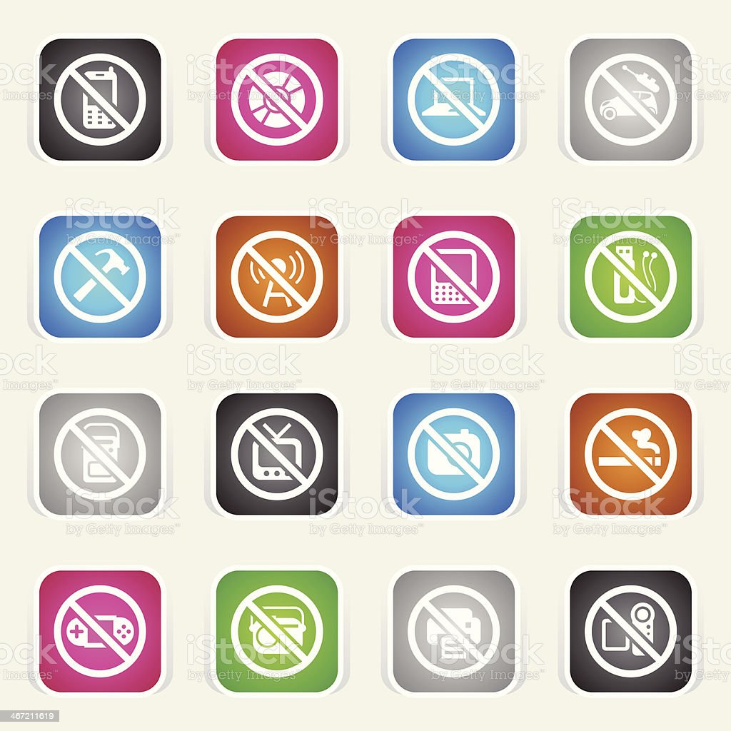 Multicolor Icons - Airplane On Board Restrictions royalty-free stock vector art