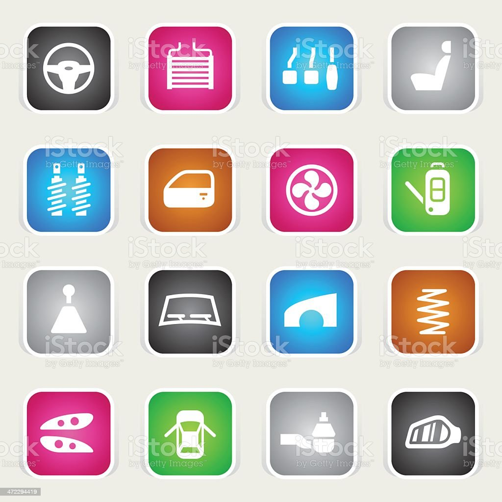 Multicolor Icons - Car Parts vector art illustration