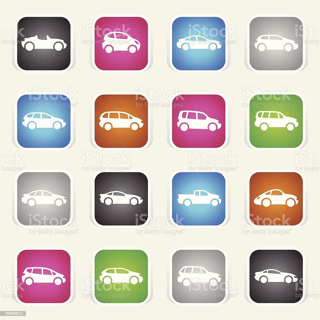 Multicolor Icons - Cartoon Cars vector art illustration