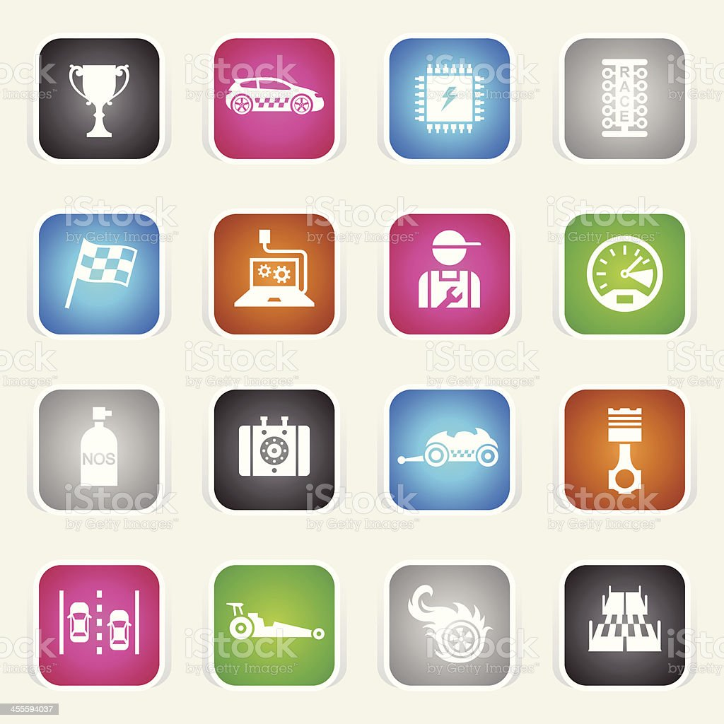 Multicolor Icons - Drag Racing royalty-free stock vector art