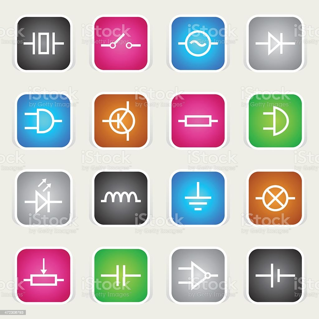 Multicolor Icons - Electronic Symbols royalty-free stock vector art
