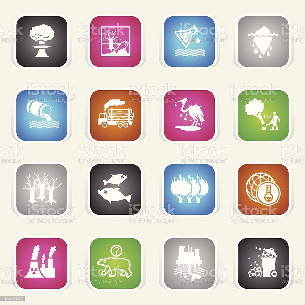Multicolor Icons - Environmental Damage royalty-free stock vector art