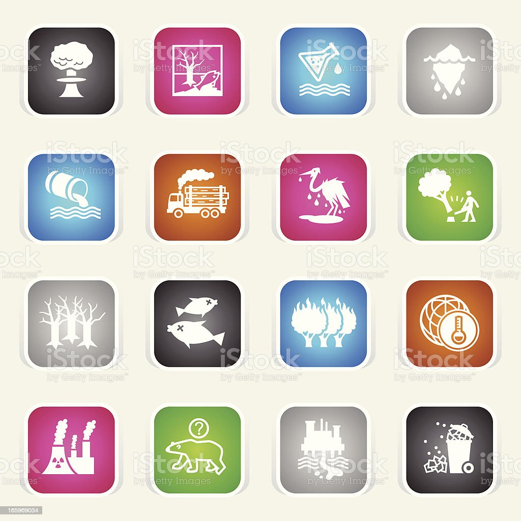 Multicolor Icons - Environmental Damage vector art illustration
