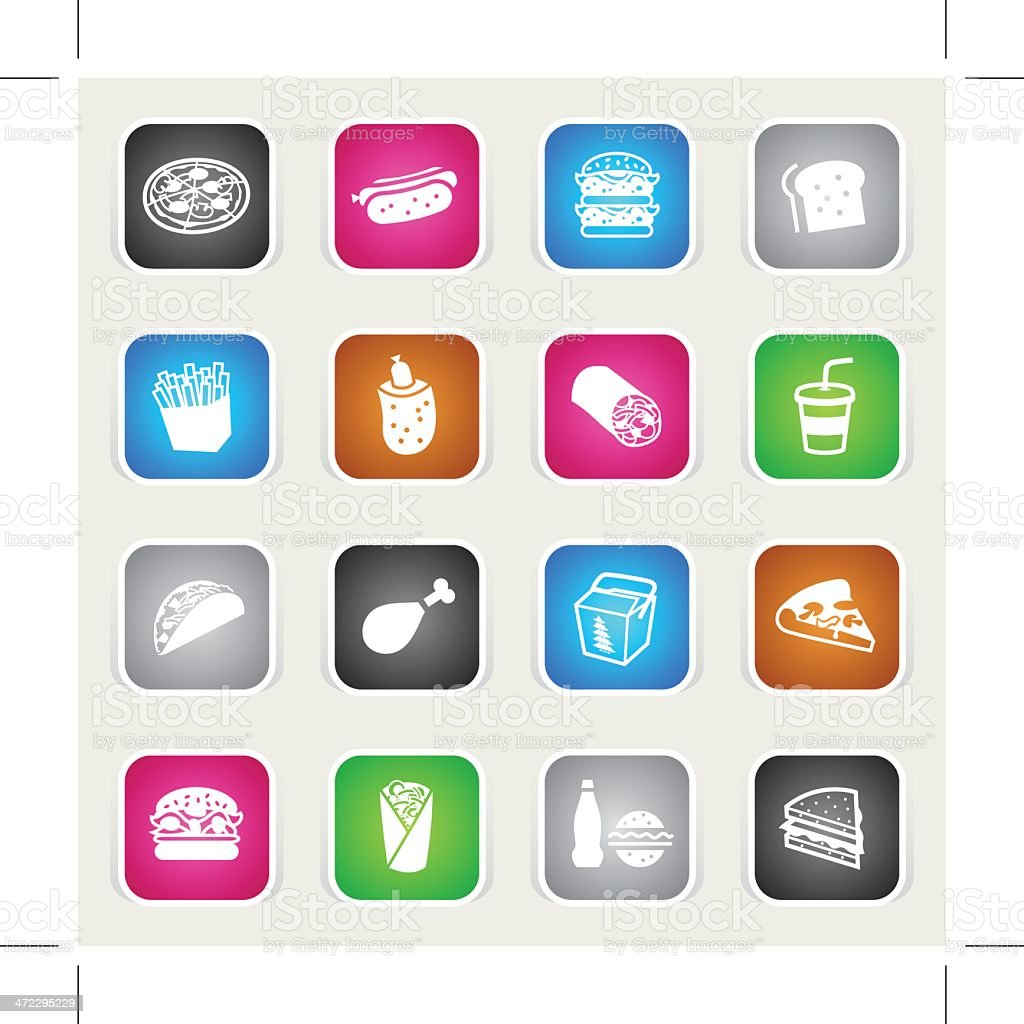 Multicolor Icons - Fast Food royalty-free stock vector art