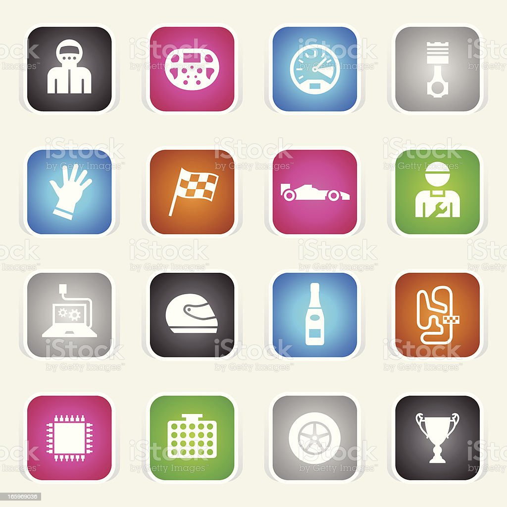 Multicolor Icons - Formula One royalty-free stock vector art