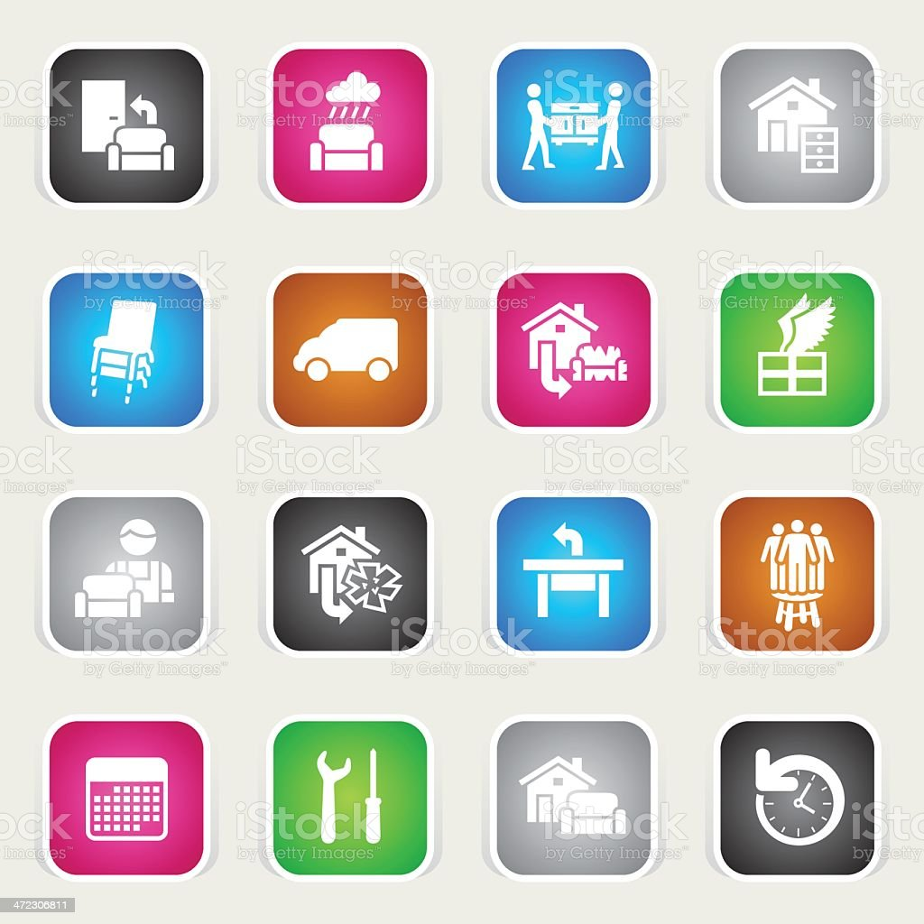 Multicolor Icons - Furniture Delivery royalty-free stock vector art